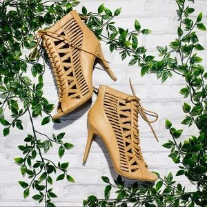 Ann Michelle brown lace up heels
